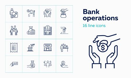 Bank operations icons. Set of line icons. Money exchange, savings, investment. Accounting concept. Vector illustration can be used for topics like payment, money, finance 일러스트