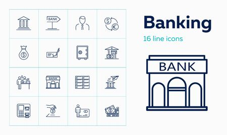 Banking line icon set. Safe, transaction, payment. Finance concept. Can be used for topics like investment, saving, money
