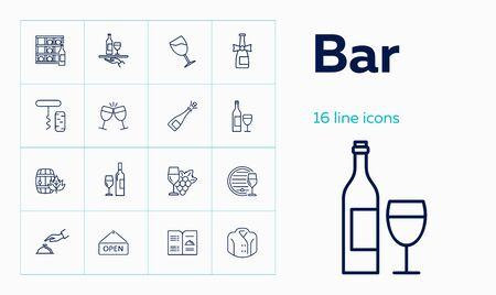 Bar line icon set. Waiter, menu, wine. Alcohol concept. Can be used for topics like pub, party, restaurant, catering Stock Illustratie