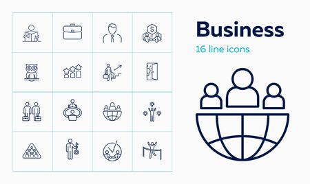 Business line icon set. Portfolio, partnership, idea. Business process concept. Can be used for topics like career promotion, startup, partnership