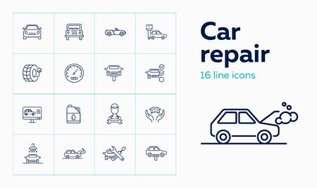 Car repair icon set. Set of line icons on white background. Auto concept.  Car, repair service, master. Vector illustration can be used for topics like car, auto, mechanical, service Foto de archivo - 129082175