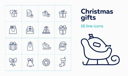 Christmas gifts line icon set. Santa Claus, sled, present box. Celebration concept. Can be used for topics like giving gifts, Xmas sale, shopping