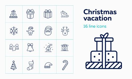 Christmas vacation line icon set. Home, mittens, Santa Claus. Celebration concept. Can be used for topics like Xmas eve, home party, giving gifts
