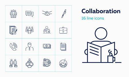 Collaboration line icon set. Partners, meeting, handshake, contract. Business concept. Can be used for topics like partnership, deal, agreement Иллюстрация