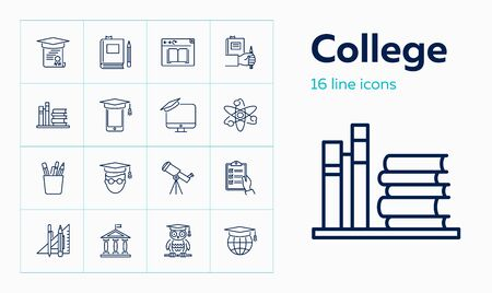 College line icon set. Book, owl, university. Education concept. Can be used for topics like graduation, studying, degree Standard-Bild - 129082388