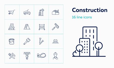 Construction site line icon set. Cart, crane, saw, worker. Construction concept. Can be used for topics like real estate, contractor tools, building works