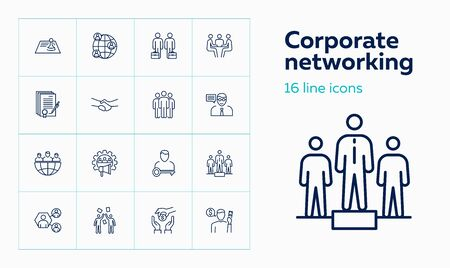Corporate networking line icon set. Contract signing, team, leadership. Business concept. Can be used for topics like meeting, forum, interview, deal