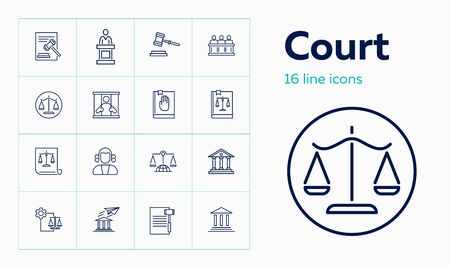 Court line icon set. Jury box, jail, constitution. Justice concept. Can be used for topics like crime, law, human rights