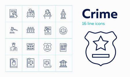 Crime line icon set. Witness, jury box, police office. Justice concept. Can be used for topics like investigation, law, arrest