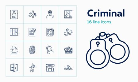 Criminal icons. Set of line icons on white background. Bank, jail, thief. Vector illustration can be used for topics like criminal, bank robbing Illustration