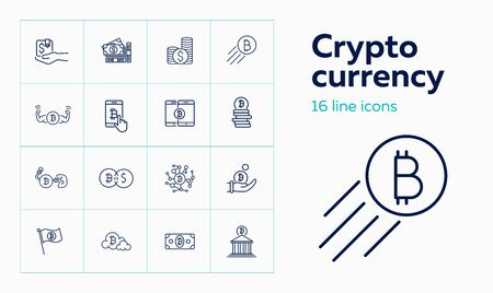 Crypto currency icon set. Set of line icons on white background. Purse, bitcoin, bank. Crypto currency concept. Vector illustration can be used for topics like banking, mining, investment