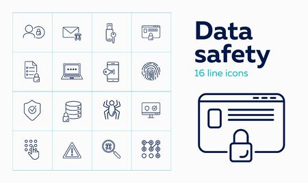 Data safety line icon set. Spider, fingerprint, key, lock, password. Protection concept. Can be used for topics like secured access, identification, information technology