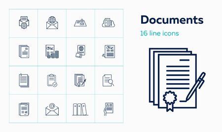 Documents line icon set. Agreement, certificate, application. Paperwork concept. Can be used for topics like business, archive, contract signing Иллюстрация