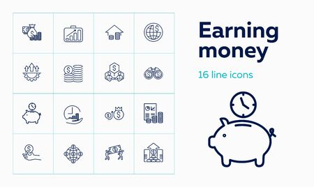 Earning money icons. Set of line icons. Cost, economy, profit. Management concept. Vector illustration can be used for topics like financial company, accounting, business Stock Illustratie