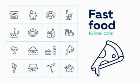 Fast food line icon set. Cupcake, sausage, fish. Eating concept. Can be used for topics like menu, cafe, restaurant meals Illustration