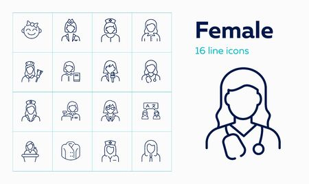 Female line icon set. Baby girl, cashier, woman, nurse. People concept. Can be used for topics like age, job, occupation Stock Illustratie