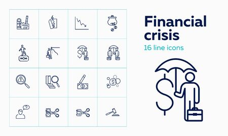 Financial crisis line icon set. Risk, insurance, forgery. Finance concept. Can be used for topics like financial loss, crash, bankruptcy