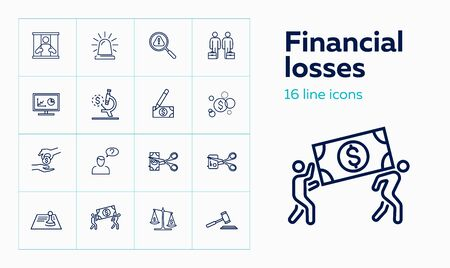 Financial losses line icon set. Robbery, economic bubble, credit card cutting. Finance concept. Can be used for topics like crime, fraud, bankruptcy