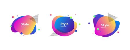 Bright multi-colored abstract forms. Dynamical colored forms and dots. Gradient banners with flowing liquid shapes. Template for design of website, leaflet, commercial. Vector illustration Illustration