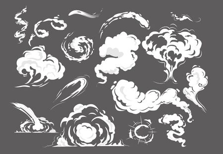 Comic smoke puffs set. Cloud, wind, bomb. Smoke concept. Cartoon blast vector illustrations can be used for topics like explosion, gas, vapor, steam Illustration