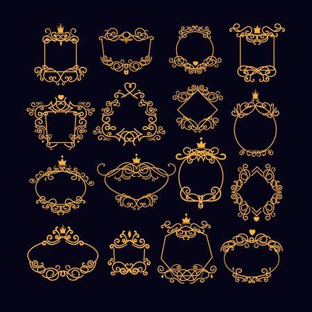 Set di cornici d'epoca in oro. Bordo, stile vittoriano, cerchio, ovale, quadrato. Concetto di decorazione. Le illustrazioni vettoriali di esplosione dei cartoni animati possono essere utilizzate per emblemi, segnaletica