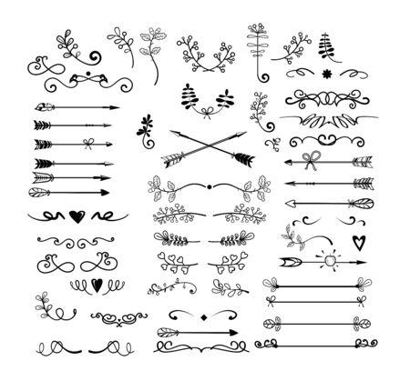 Insieme del monogramma dell'annata. Scarabocchi disegnati a mano, frecce, riccioli antichi, schizzi. Concetto di decorazione. Le illustrazioni vettoriali di esplosione dei cartoni animati possono essere utilizzate per emblemi, insegne