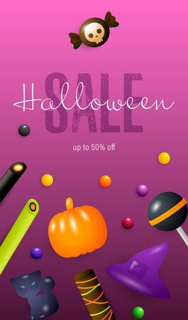 Halloween Sale lettering, candies and sweets. Invitation or advertising design. Handwritten text, calligraphy. For leaflets, brochures, invitations, posters or banners. Illustration