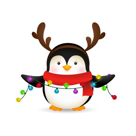 Cute penguin celebrating Christmas. Cartoon character holding fairy lights. Christmas concept. Realistic vector illustration for greeting cards, festive banner and poster design