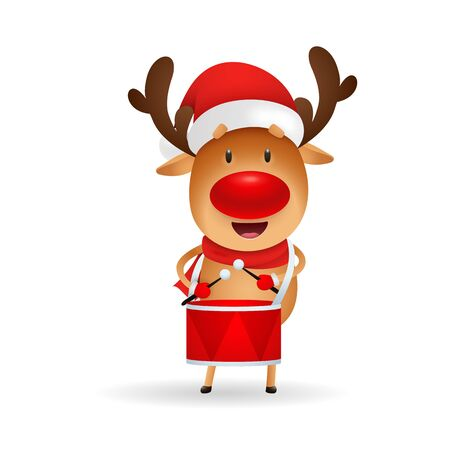Cute reindeer playing drum. Cartoon deer, Santa hat, music. Christmas concept. Realistic vector illustration for winter holidays, presents, festive event Foto de archivo - 129597698