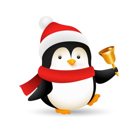 Funny baby penguin ringing bell. Cute character wearing Christmas hat and scarf. Christmas concept. Realistic vector illustration for winter holidays, party, festive event