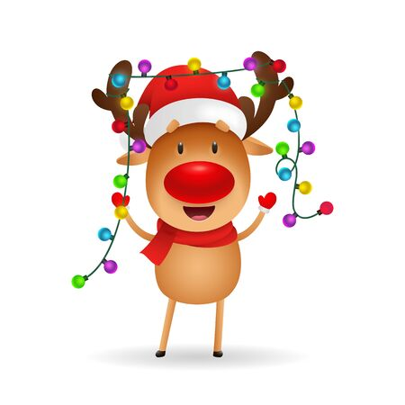 Cheerful reindeer celebrating Christmas. Cute cartoon deer with fairy lights on antlers. Christmas concept. Realistic vector illustration for greeting cards, festive banner and poster design