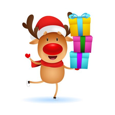 Funny reindeer carrying gifts. Cute deer holding boxes and skating. Christmas concept. Realistic vector illustration for winter holidays, presents, festive event