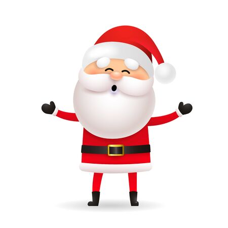 Funny Santa Claus celebrating Christmas. Cartoon character standing and laughing. Christmas concept. Realistic vector illustration can be used for greeting cards, festive banner and poster design