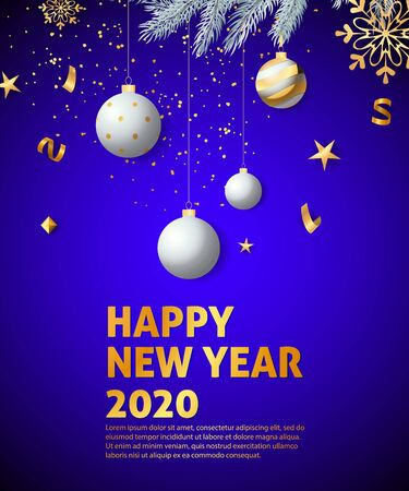 Happy New Year, Two Thousand Twenty lettering, golden snowflake. New Year Day poster. Typed text, calligraphy. For leaflets, brochures, invitations, posters or banners.