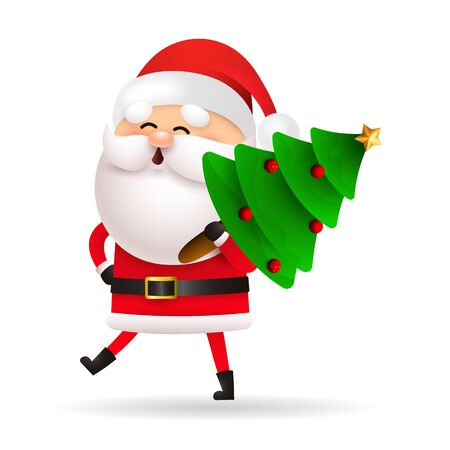 Happy Santa Claus carrying Xmas tree. Cartoon character walking and holding fir tree. Christmas concept. Realistic vector illustration can be used for greeting cards, festive banner and poster design