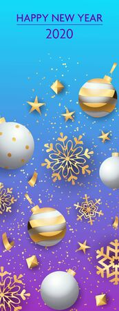 Happy New Year two thousand twenty lettering with baubles. New Year Day greeting card. Typed text, calligraphy. For leaflets, brochures, invitations, posters or banners.