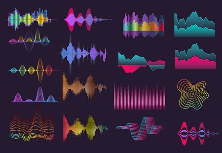 Colorful sound wave set. Neon, black background, voice, frequency. Sound concept. Vector illustrations can be used for topics like music, radio, soundwave Ilustração