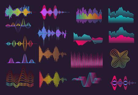 Ensemble d'ondes sonores colorées. Néon, fond noir, voix, fréquence. Notion sonore. Les illustrations vectorielles peuvent être utilisées pour des sujets comme la musique, la radio, les ondes sonores