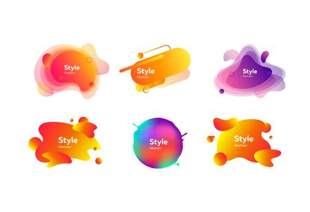 Set of vibrant abstract dynamical shapes. Gradient banners with flowing liquid shapes. Template for design of logo, flyer or presentation. Vector illustration