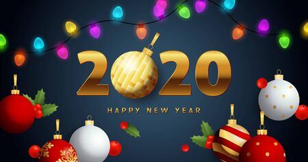 Happy New Year 2020 lettering with lights garlands, balls. New Year Day greeting card. Typed text, calligraphy. For leaflets, brochures, invitations, posters or banners. Archivio Fotografico - 129602091