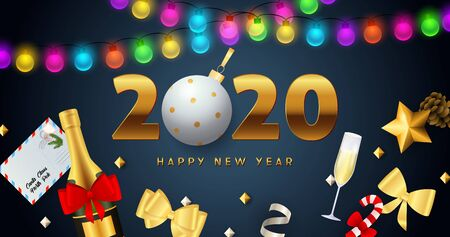 Happy New Year 2020 lettering with lights garlands, champagne bottle. New Year Day greeting card. Typed text, calligraphy. For leaflets, brochures, invitations, posters or banners.