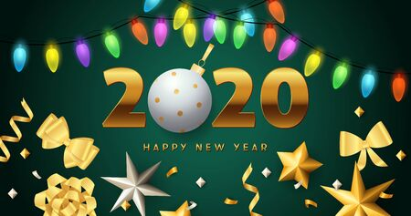 Happy New Year 2020 lettering, lights garlands, golden bows. New Year Day greeting card. Typed text, calligraphy. For leaflets, brochures, invitations, posters or banners. Archivio Fotografico - 129602092
