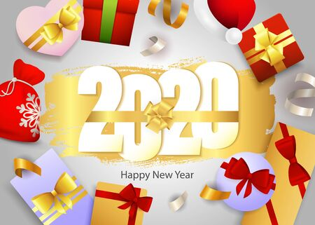 Happy New Year, 2020 lettering and gift boxes. New Year Day greeting card. Handwritten text, calligraphy. For leaflets, brochures, invitations, posters or banners. Archivio Fotografico - 129601989