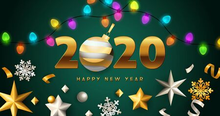 Happy New Year 2020 lettering with lights garlands, stars. New Year Day greeting card. Typed text, calligraphy. For leaflets, brochures, invitations, posters or banners.