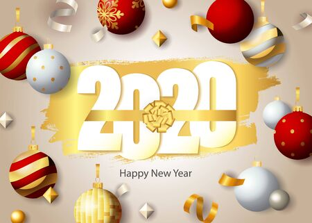 Happy New Year, 2020 lettering and festive baubles. New Year Day greeting card. Handwritten text, calligraphy. For leaflets, brochures, invitations, posters or banners.