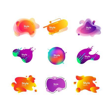 Set of vibrant abstract dynamical shapes. Gradient banners with flowing liquid shapes. Template for design , flyer or presentation. Vector illustration Ilustração
