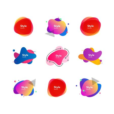 Flat bright geometric forms. Dynamical multicolored forms and line. Gradient banners with flowing liquid shapes. Template for design of logo, flyer or presentation. Vector illustration