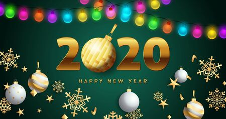Happy New Year 2020 lettering with lights garlands, snowflakes. New Year Day greeting card. Typed text, calligraphy. For leaflets, brochures, invitations, posters or banners.