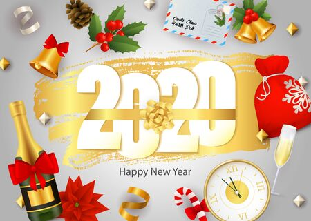 Happy New Year, 2020 lettering, champagne, clock, mistletoe. New Year Day greeting card. Handwritten text, calligraphy. For leaflets, brochures, invitations, posters or banners.
