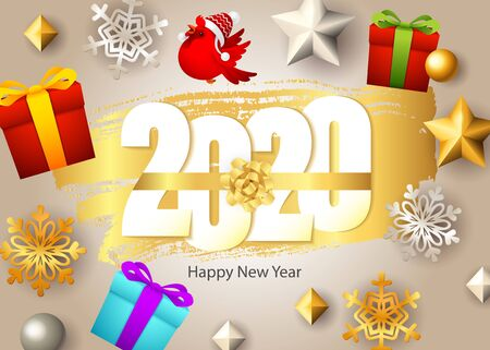 Happy New Year, 2020 lettering, gift boxes, bird and snowflakes. New Year Day greeting card. Handwritten text, calligraphy. For leaflets, brochures, invitations, posters or banners.